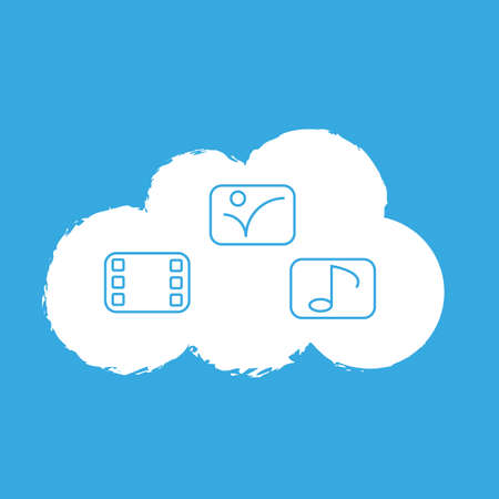 Cloud with online media on blue background