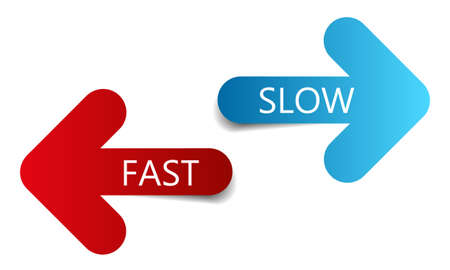 Two color arrows with text fast and slow