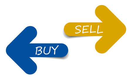 Two color arrows with text buy and sell Illustration