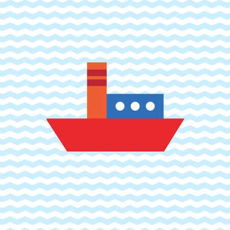 steamship: Steamship on the sea Illustration