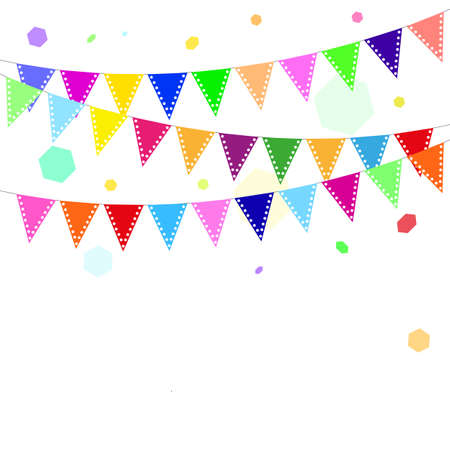 Celebration background with color flags and free place for your content Illustration