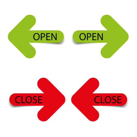 Open and close four color arrows graphics with shadow simple design graphic for web
