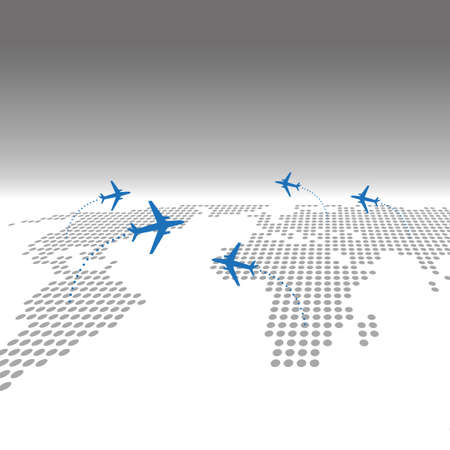Travel airplane with dotted world map infographic web background Illustration