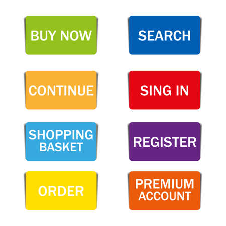 web shopping color buttons with shadow on white background Illustration