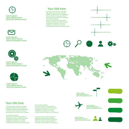 nfographic background with icons and graphs and dotted world map use for web Illustration