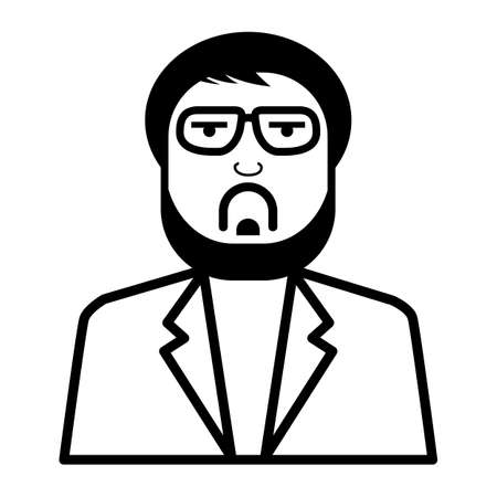 man with glasses line style on white background