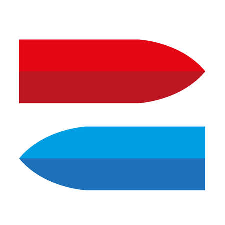 Two color arrows on white background