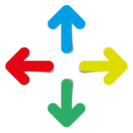 Four color arrows on white background
