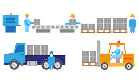 Manufactory process, production and transport, vector graphic