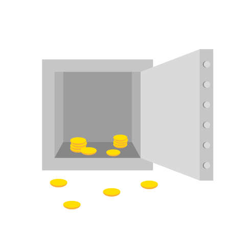 robbery: empty robbery, safe, vector graphic on white background