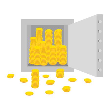 Full safe of gold money Illustration