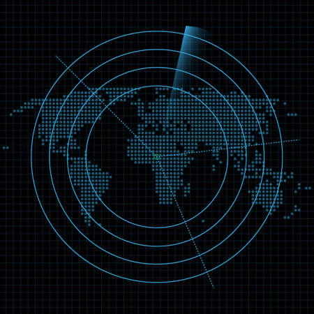World control and connection, online, vector graphic