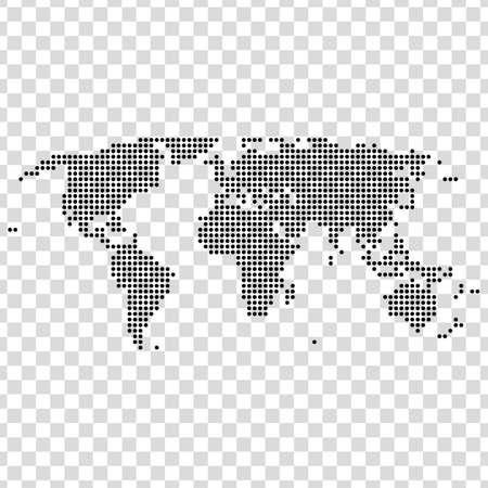 Black dots world map on transparent background