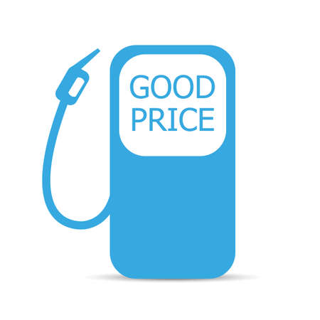 Good price fuel station with shadow on white background