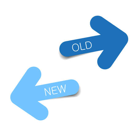 New and Old blue color arrows with shadow on white background, Use for web Illustration