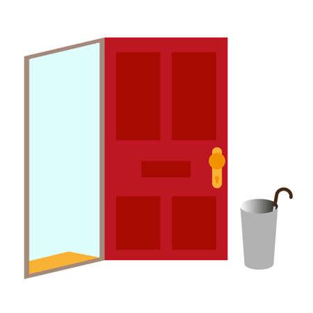 Open door welcome, illustraton on white background