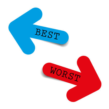 The Best and worst color arrows on white background