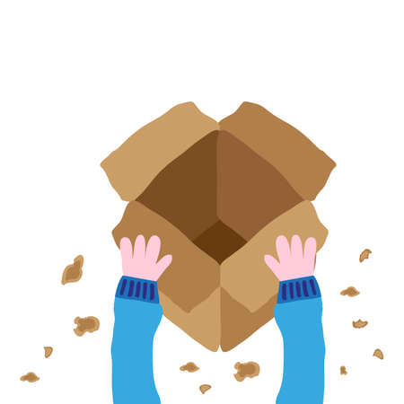 Unboxing package, drawing vector illustration graphic
