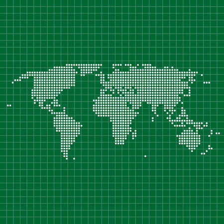 world dotted map with white transparent grid on dark green background Illustration