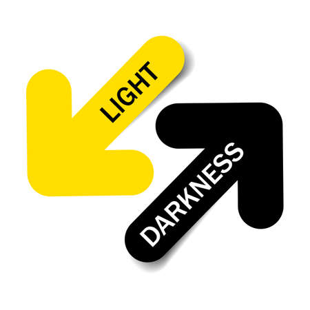Light and darkness, Two color arrows with shadow on white background