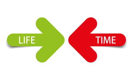 Life and Time, color arrows with shadow on white background