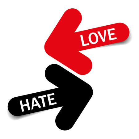 Love and Hate, Two color arrows with shadow on white background Illustration