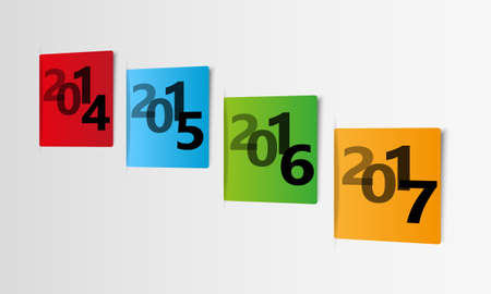 Timeline web graphic design with color paper year cards with shadow effect Illustration