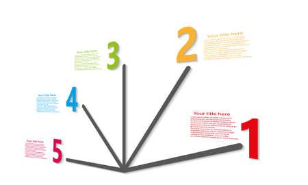 modern web color numberline with shadow flat design Illustration