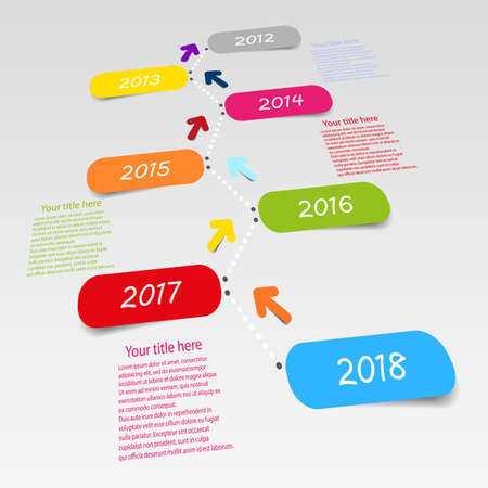 web timeline template with color icons