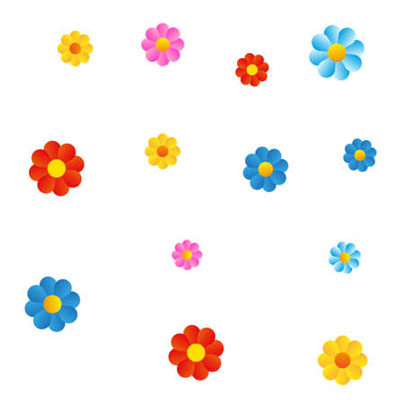 Color flowers on white background Illustration