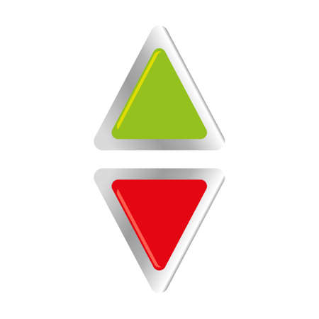 Two color grossy and steel buttons, up and down direction, on white background, for web