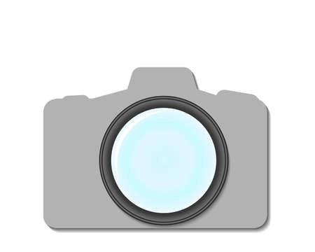 Camera lens with shadow on white background