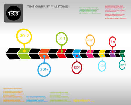 Vector infographic time company milestones with circle year pointers Spatial style graphic