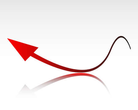 Red growth arrow on glossy background Illustration
