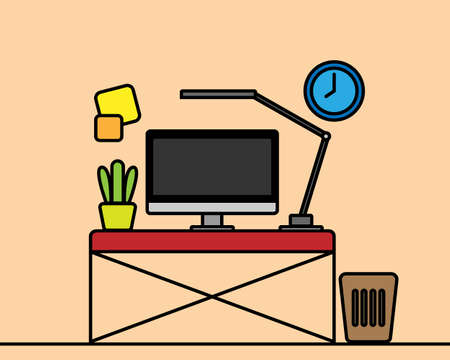 work room computer on desk with lamp and plant, easy line style graphic