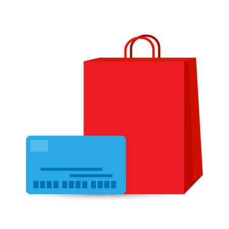 Shopping bag with credit card, Business shopping concept Illustration