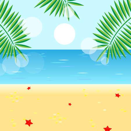 Caribbean beach with palms, sun and sea