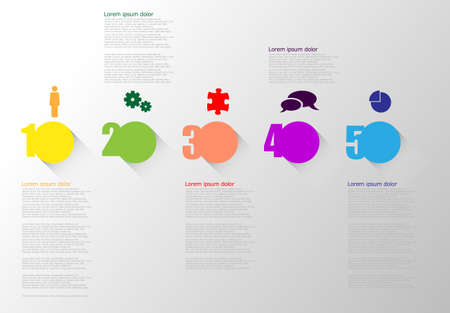 Five colored vector icons with shadow on gradiant gray background