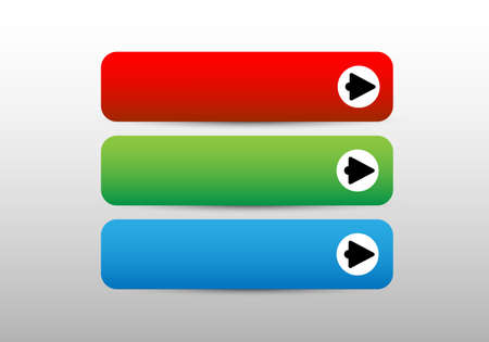 Three color web icons with arrow and shadow