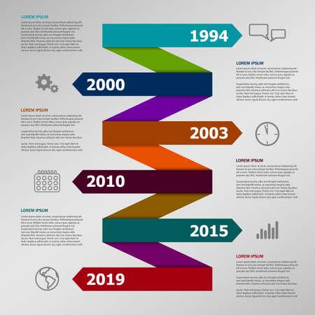 Flèche de papier de couleur vectorielle Infographie de l'entreprise avec des icônes Vecteurs