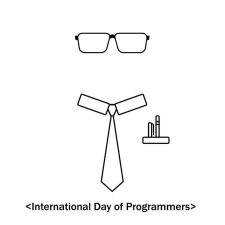 International Day of Programmers, Vector easy line illustration