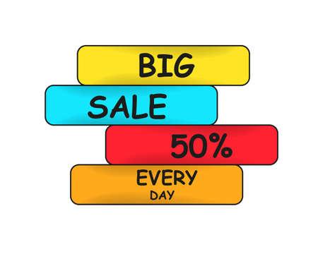 Grande vendita ogni giorno illustrazione vettoriale con effetto ombra sulle icone Vettoriali