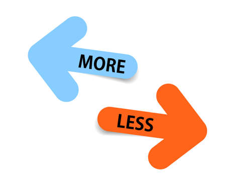 More and Less two Color arrows with shadow on white background