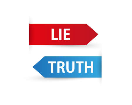 Truth and Lie, Two Color Arrows with shadow on white Background Vector Illustration