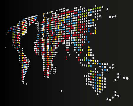 Color Dotted world Map on Dark Background Standard-Bild - 124837937
