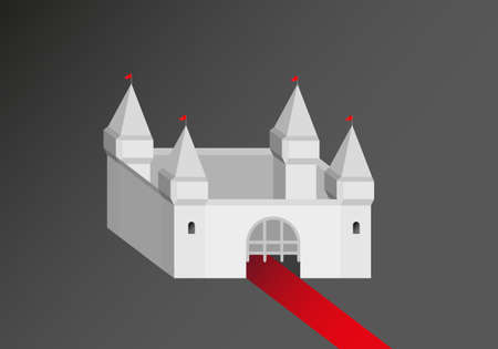 Castle with red carpet 3D object Vector Graphic Illustration on dark background Foto de archivo - 124837941