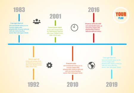 Milestone History Timeline Template with information for your success - Vector