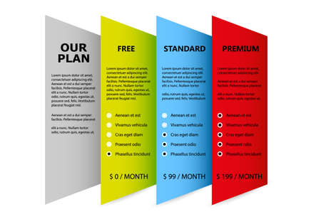 Our Plan Product and Services Concept of Three choice and prices for your business and strategy