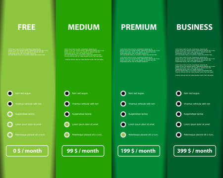 Four variant offer product and service on color web rectangles Vector graphic Çizim