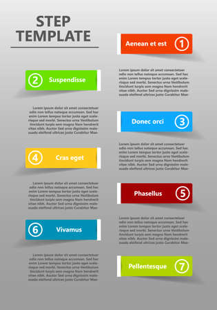 Seven color steps template with place for your text - Vector